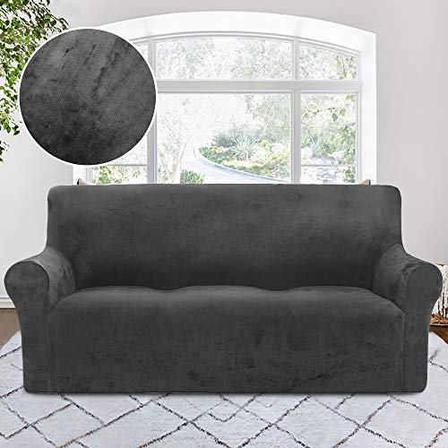 (RHF Velvet-Sofa Slipcover, Stretch Couch Covers for 3 Cushion Couch-Couch Covers for Sofa-Sofa Covers for Living Room,Couch Covers for Dogs, Sofa Slipcover,Couch slipcover(Dark Grey-Sofa))