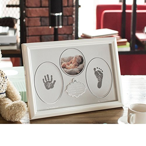 - Baby Handprint & Footprint Picture Frame Kit with No-Mess Ink Pad, Exquisite Gift Box Included, Best Gift for Baby