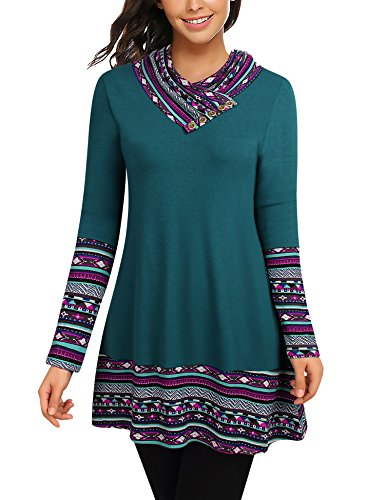 (Bebonnie Fall Sweaters for Women, Women's Long Sleeve Cowl Neck Patchwork Printed Tunic Top Ladies Casual Flowy Blouse Shirt Dark Cyan X-Large)