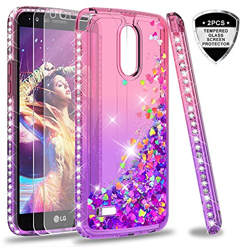LG Stylo 3 case, LG Stylo 3 Plus/Stylus 3 Glitter Case with Tempered Glass Screen Protector for Girls Women, LeYi Cute Shiny Moving Quicksand Clear Bling Phone Case Cover for - For Phones Lg Covers