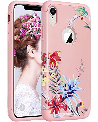 ULAK iPhone XR Case, Slim Fit Dual Layer Hybrid Hard PC Back Cover with Shock Absorption Soft Silicone Interior Anti Scratch Protective Case for iPhone XR 6.1 inch, Pink Floral