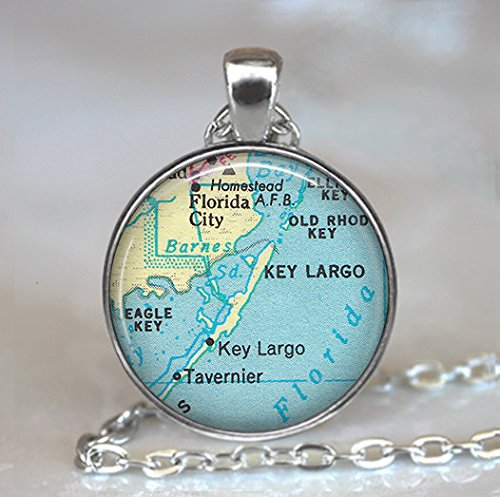 Florida Keys map pendant, Key Largo necklace, Key Largo pendant, Key Largo map charm -