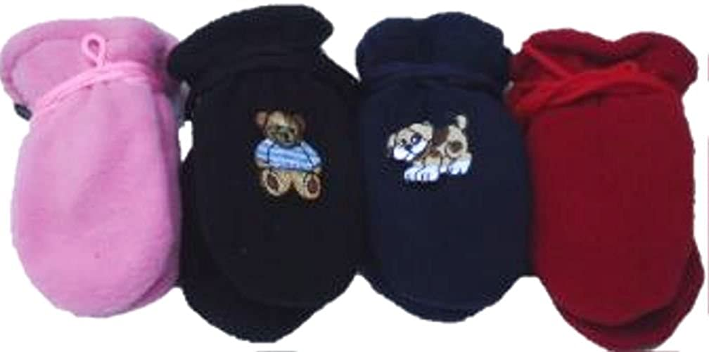 Set of Four Fleece Microfiber Mitten for Infants Ages 3-2 Months