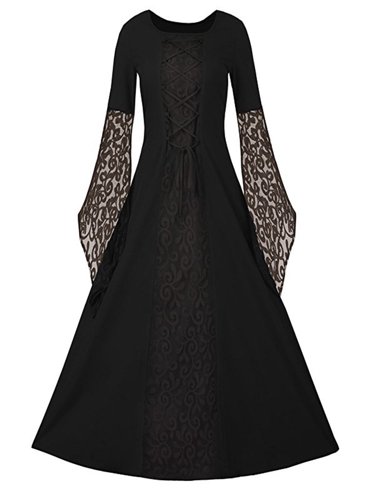 EastLife Women's Halloween Costumes Renaissance Medieval Dress Lace Up Vintage Floor Length Long Witch Dresses, Black, XXL
