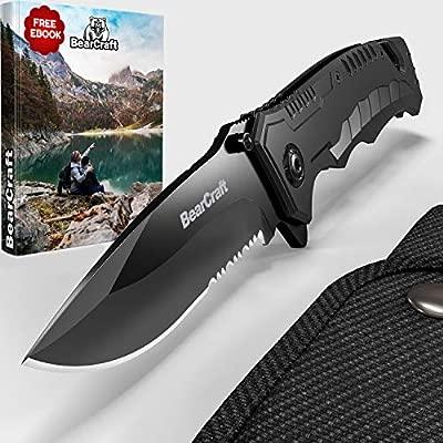 BearCraft Navaja Plegable Negra con ** eBook GRATIS ** | Tipo Cuchillo de Supervivencia | acero inoxidable | Acampar y trabajar en el monte | Cuchillo ...