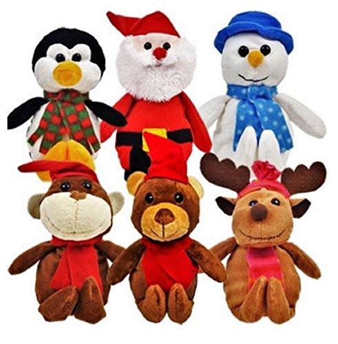 Christmas Stuffed Plush Animals, Santa and Snowman Toys, 6-ct Set by Christmas House ()