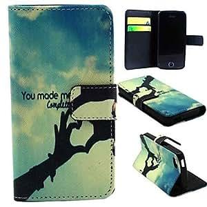 WQQ diseño del amor de la PU cuero caso de cuerpo completo con soporte y ranura para tarjeta y el titular del dinero para 5c iphone