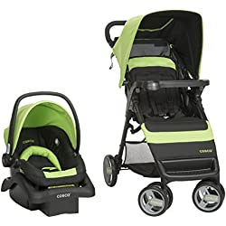 Cosco Simple Fold Travel System with Light 'N Comfy Infant Car Seat, Bright Lime