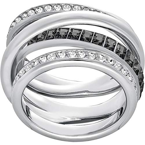Swarovski Crystal Authentic Crystal Dynamic Gray Rhodium Plated Ring, Size 5 - Chic & Hypoallergenic Fancy Jewelry Collection for Women