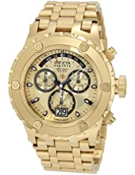 Invicta Mens 1568 Reserve Chronograph Gold Dial 18k Gold Ion-Plated Stainless Steel Watch