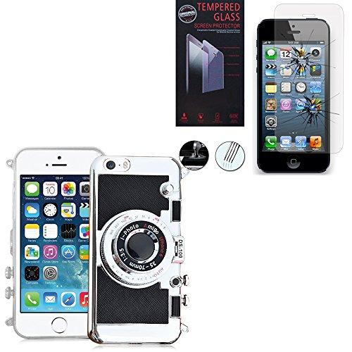 VCOMP® Camera case Coque Silicone TPU motif appreil photo élégant, support vidéo + mirroir couleur NOIR + 1 Film Verre Trempé couleur TRANSPARENT pour Apple iPhone 5/ 5S/ SE