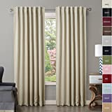 Cheap ChadMade Back Tab/Rod Pocket Beige 52Wx102L Inch (Set of 2 Panels) Solid Thermal Insulated Blackout Curtain Drape