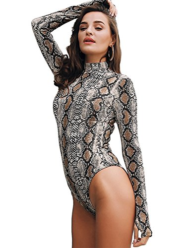 Glamaker Women's Sexy Long Sleeves Bodycon Snake Skin Print Bodysuit