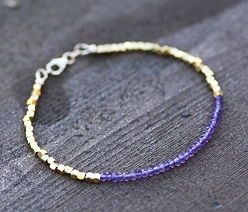 JP_Beads Natural Amethyst Bracelet with Vermeil Bali Beads, February Birthstone 3mm ()