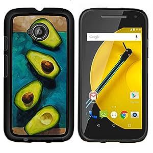 LECELL--Funda protectora / Cubierta / Piel For Motorola Moto E2 E2nd Gen -- Aguacate tuerca de corte --
