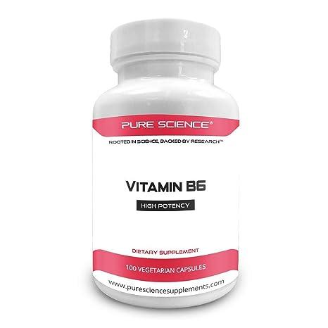 Pure Science Vitamina B6 (clorhidrato de piridoxina) 100 mg con 5 mg de BioPerine