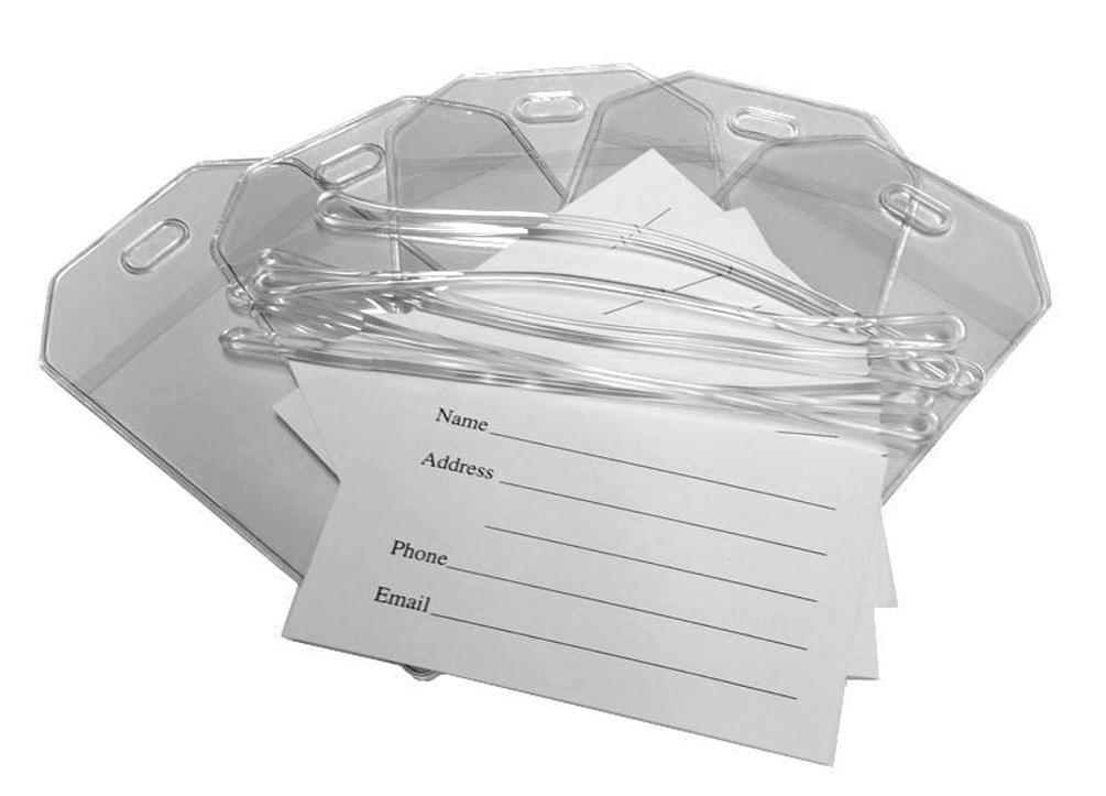 Clear Vinyl Luggage Tags with Loops & Name Cards - Set of 50