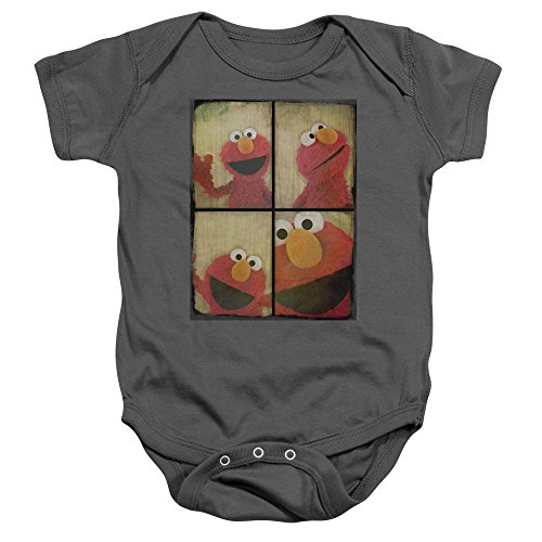 A&E Designs Elmo Romper Photo Booth Baby Creeper, Charcoal, 6 Months