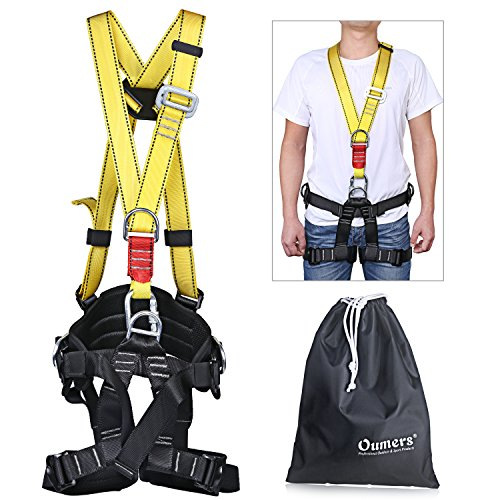 Oumers Climbing Harness, Detachable Full Body Harness with Carabiner, Safety Seat Belts For High lines, Climbing Towers, Outward Band Fire Rescue Tree Harness Caving Rock Climbing Rappelling Equip ()