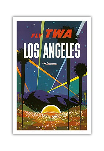 (Los Angeles - Trans World Airlines Fly TWA - Hollywood Bowl - Vintage Airline Travel Poster by David Klein c.1958 - Master Art Print - 12in x 18in)