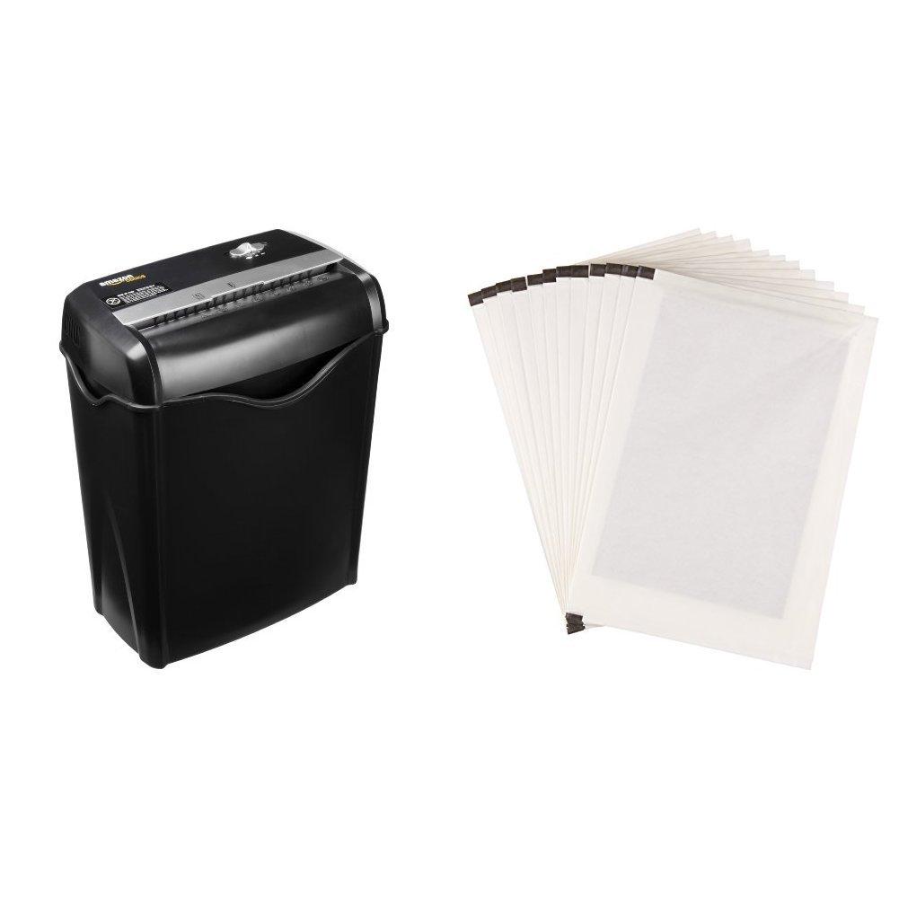 AmazonBasics Aktenvernichter, 5-6 Blatt Kreuzschnitt, für Papier und Plastikkarten und Schmiermittelblätter, 12 Stk.