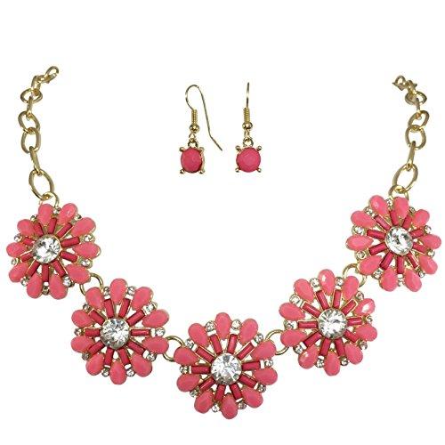 Gypsy Jewels Fun 5 Flower Dot Bib Bubble Rhinestone Gold Tone Statement Necklace Earrings Set (Pink)