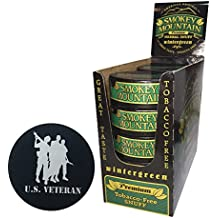 Smokey Mountain Herbal Chew or Snuff Wintergreen - 10 Cans - Includes DC Skin Can Cover (Veteran Skin)