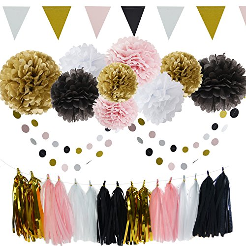 French/Paris Theme Birthday Decorations Party Decoration 35pcs Black Pink White Gold Tissue Paper Pom Pom Paper Tassel Garland Circle Garland Triangle Banner Birthday Parisian Baby Shower Decorations -