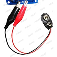 PGSA2Z™ 2Pcs DIY 9V Battery Snap to Alligator Clip Power Test Cable - Black + Red