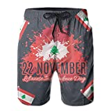 Bing4Bing Lebanese Independence Day Retro Lebanon Flag Summer Fast Dry Beach Mens Swim Trunks