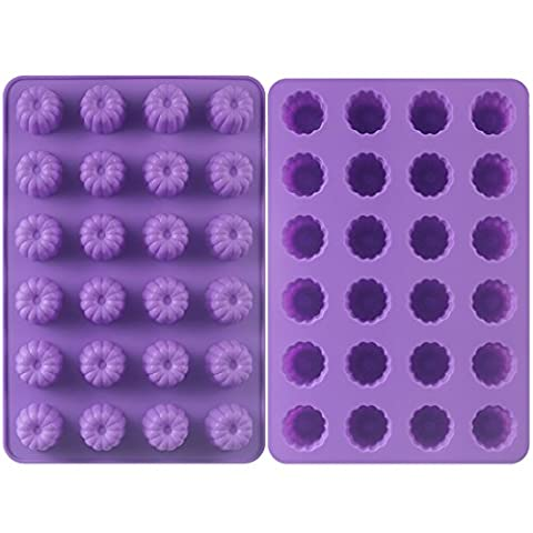 Tosnail 24-Cavity Mini Silicone Fluted Pan Bundt Pan - 2 Pack