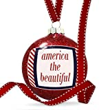 Christmas Decoration America the Beautiful Fourth of July Red Stripes Ornament