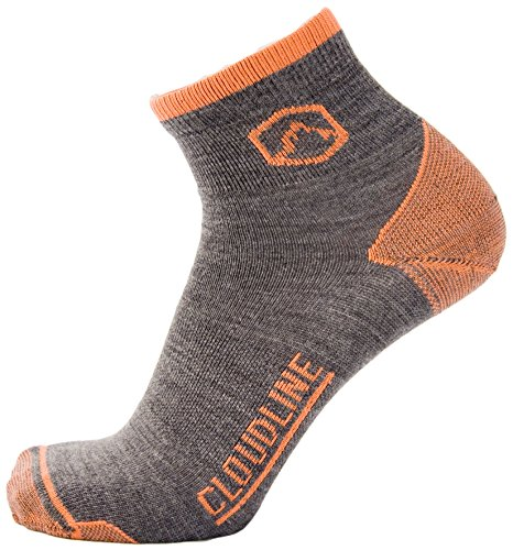 CloudLine Merino Wool 1/4 Top Running & Athletic Socks - Ultra Light - Medium Hi-Vis Orange -- Made in the - Usa Shop In