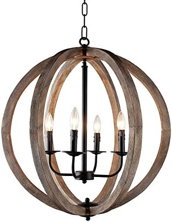 Decomust 24 Vintage Pendant Orb Chandelier Light Wood Wooden Frame Iron Band Sphere Globe Ceiling Light Fixture 4 Lamps