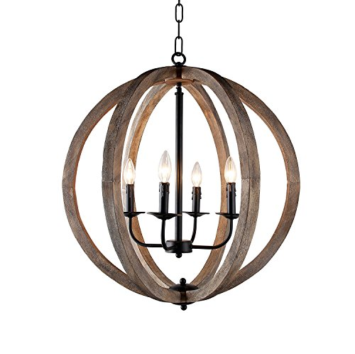 "Decomust 24"" Vintage Pendant Orb Chandelier Light Wood Wooden Frame Iron Band Sphere Globe Ceiling Light Fixture 4 Lamps"