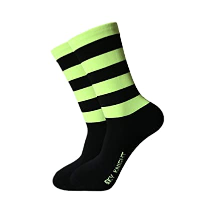 SKY KNIGHT Calcetines de ciclismo, calcetines deportivos fluorescentes, calcetines deportivos de malla transpirable a