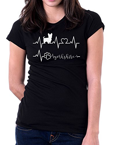 Tshirt Elettrocardiogramma Yorkshire - I love Yorkshire - cani - dog - love - humor - tshirt simpatiche e divertenti Nero