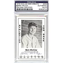 Benny McCoy Autographed 1979 Diamond Greats Card #334 A's PSA/DNA #83829732