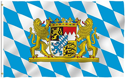 Bavaria Flag (ANLEY [Fly Breeze] 3x5 Foot Bavaria with Lions Flag - Vivid Color and UV Fade Resistant - Canvas Header and Double Stitched - Bavarian Lion Crest Flags Polyester with Brass Grommets)