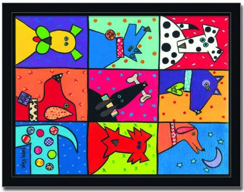 Dog Patch Pop Art by Susan Kline 12x16 Art Print Framed