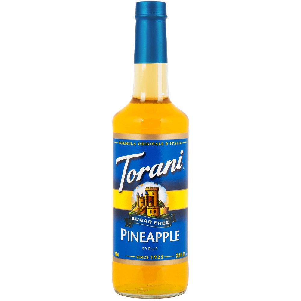 Torani Sugar Free Pineapple Syrup, 750 mL Glass Bottle