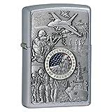 Zippo Defenders of Freedom Emblem Pocket Lighter, Street Chrome