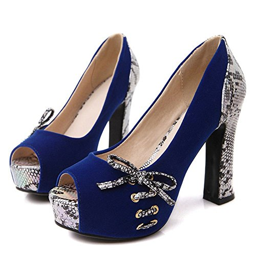 Shoes TAOFFEN Toe Peep Heels 6 Women Blue 4SSzI