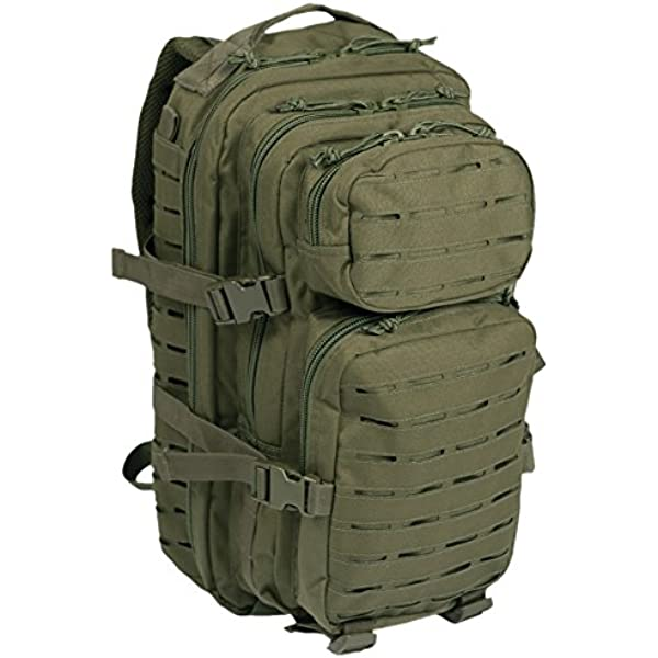 MIL-TEC US BLACK LASER CUT ASSAULT BACKPACK SMALL ARMY MOLLE RUCKSACK 20 LITRE