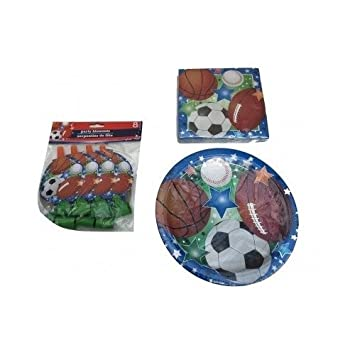 Kids Sports Party Supplies Paper Plates Party Blowouts \u0026 Napkins Baseball Basket Ball Football Soccer Themed  sc 1 st  Amazon.com : baseball paper plates - pezcame.com
