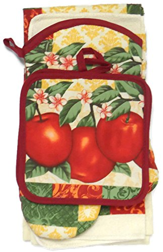 Kitchen Towel Set 7 Piece Towels Pot Holders Oven Mitt & Dishcloth Decorative Design Everyday Use (7 Piece, Garden Apple) - Apple Pot Holders