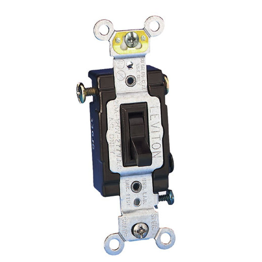 Leviton 54523-2 20 Amp, 120/277 Volt, Toggle Framed 3-Way AC Quiet Switch, Commercial Grade, Grounding, Brown