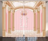 Ambesonne Teen Girls Decor Curtains, Interior of The Ballroom Magic Castle Chandelier Ceiling Columns Kingdom Print, Living Room Bedroom Decor, 2 Panel Set, 108 W X 90 L inches Review