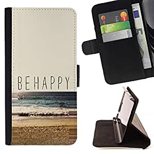 For Samsung Galaxy S6 Be Happy Beach Summer Sun Nature Surf Beautiful Print Wallet Leather Case Cover With Credit Card Slots And Stand Function
