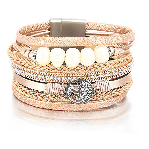 Rose Gold Tree of Life Bracelet Pearl Bead Bracelet Rhinestone Wrap Bracelet Leather Cuff Bracelet Braided Bracelet Boho Jewelry for Women Teen Girls ()